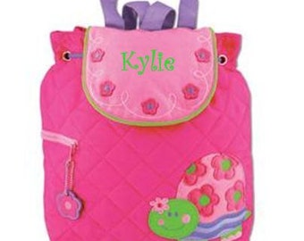 Girls Personalized Quilted Stephen Joseph Turtle Backpack