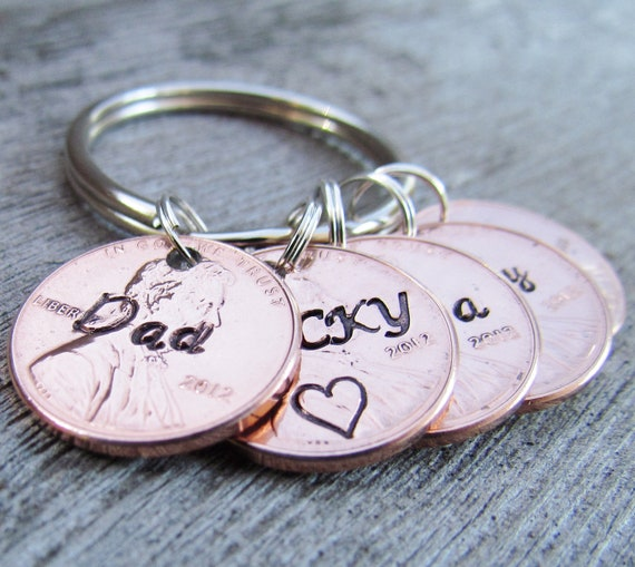 Hand Stamped 5 Penny Key Chain Charm Custom Name Penny Years 1950 to 2016 Date Lucky Personalized Family Keychain