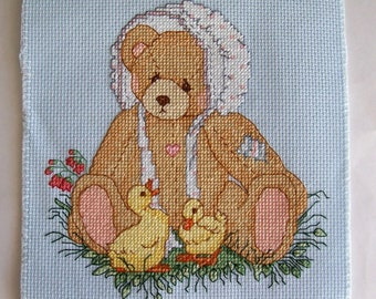 Teddy Bear and Chicks Completed Cross Stitch - Spring Cross Stitch, Finished Cross Stitch, Completed X Stitch, Teddy Bear Cross Stitch