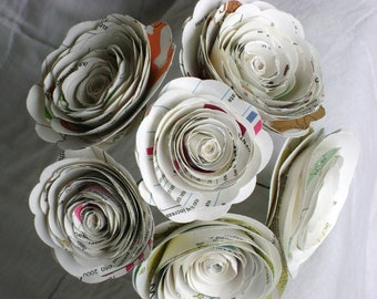 vintage atlas map pages spiral rolled flowers bouquet, wedding, toss, first anniversary