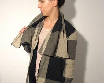 Grunge plaid wool jacket black grey ready to ship