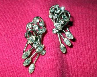 Sterling Silver Rhinestone Crystal Costume Earrings Screw Backs Vintage Wedding Bridal