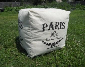 """Pouf - Hassock - Ottoman - Canvas, """"Paris No. 13,"""" Grain Sack 18"""" X 18"""""""