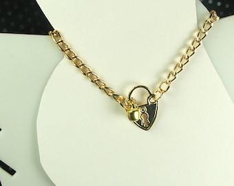 Slave Anklet Heart Lock Charm Gold Slave Bell Ankle bracelet