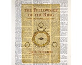 The Lord of the Rings Trilogy Part 1 on a Vintage Dictionary Page