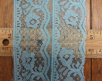 Wide Blue Nylon Raschel Lace 12 Yards