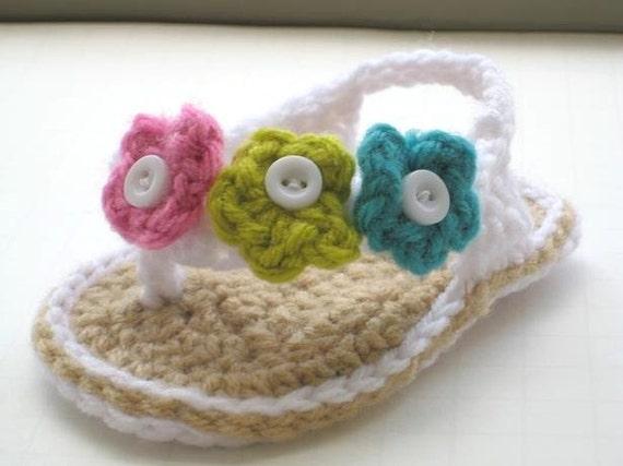 Crochet Pattern Baby Booties, Flip flop Sandals, A pdf Pattern