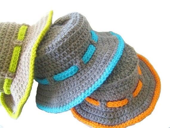 Boy's Sun Hat Crochet Pattern , Pdf pattern, Boy's Sun Hat, INSTANT DOWNLOAD, Newborn to 10 Years,  Pdf Pattern
