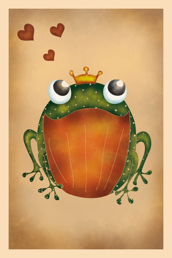 DIGITAL Whimsical frogs-instant download of original illustration-you are royalty to me message