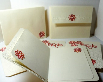 Thank You Cards-  Embossed- 4 Cards- Boxed Set- Linen Lined- Handmade