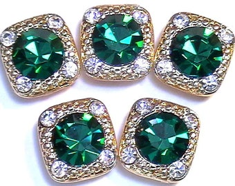 Five 2 Hole Slider Or Spacer Beads 8mm Emerald & 2mm Clear Austrian Crystals