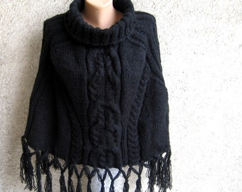 Black Cable Poncho, Knitted Women  Fringe Sweater, Acrylic Mohair Capelet, Fall Winter Maternity Clothing, Turtleneck Warm Poncho, Gift idea