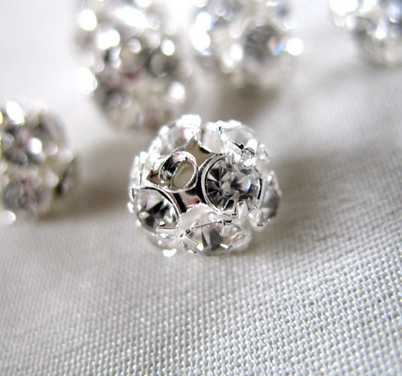 RESERVED for A  93 piecesClear Crystal A Grade Rhinestone Brite Silver Plated Round Beads, not AB, 9mm diameter