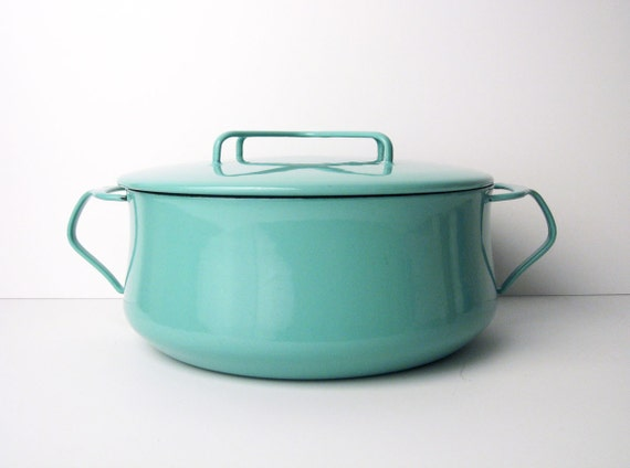 DANSK Enamel Pot in Turquoise - 4 ducks, made in Denmark