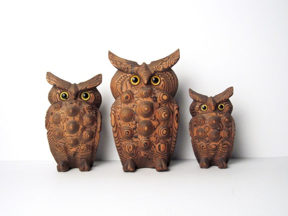 Mid-Century Wood Owl Figurine - Danish Modern Wood Owl / Bird Sculpture - Japan