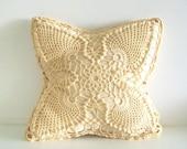 Reserved For Lois - Vintage Handmade Creme Crochet Pillow