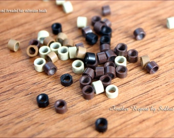 Mixed Hair Beads 4mm NON Silicone Crimp Beads Screw Beads Metal Beads for Hair Blonde Brown Dark Brown Black Hair Extension Supply, 30
