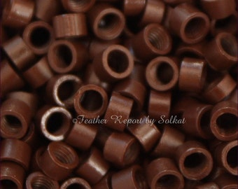 Brown Hair Extension Beads Micro Links Screw Type 4mm Hair Extension Crimping Beads Hair Supplies Brown Crimp Beads Brown Beads, QTY25
