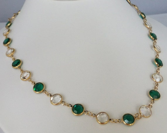 Vintage jewelry necklace in green and clear Swarovski crystal necklace by Monet 35 inches long necklace