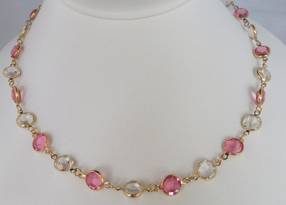 Vintage jewelry necklace in pink and clear Swarovski crystal necklace by Monet 35 inches long necklace