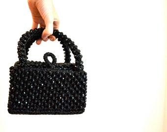60s VIntage Beaded Clutch Handbag Purse Box Bag Made in Italy// Vintage Black Evening Bag Beaded Hard Case Bag