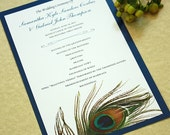 Peacock Feather Wedding Program, DEPOSIT