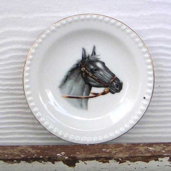 Vintage Horse Plate Bone China Beaded Edge