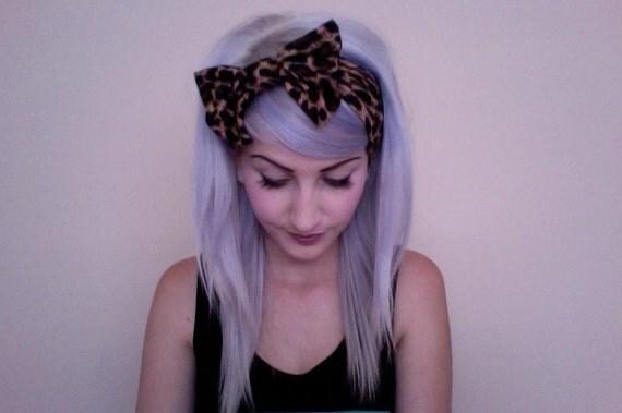 Leopard bow turban headband head wrap