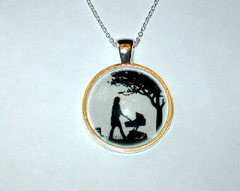 Mom and Baby Pendant  Mother to Be Gift Glass pendant for necklace Silhouette Baby Shower Gift
