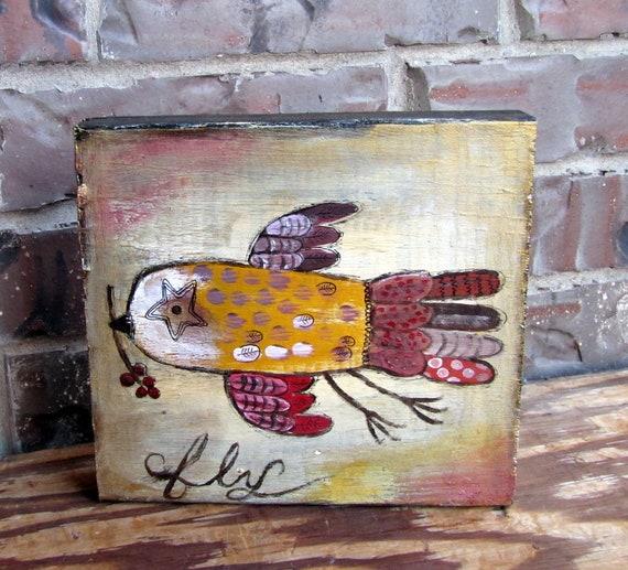 Folk Art Bird Painting On Wood Whimsical Kitschy Decor