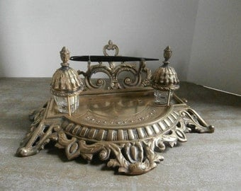 Exceptional Fancy Brass Inkwell