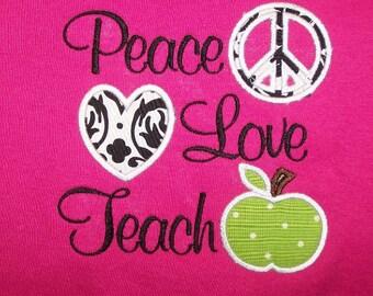 Peace Love Teach School Shirt Teacher Shirt