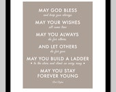 Parenthood Theme Song - Forever Young by Bob Dylan - gift for baby - nursery art - 11x14 Print (Taupe)