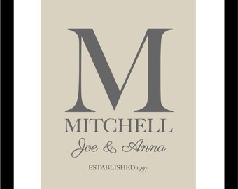 "Personalized Wedding Gift Family Monogram Name Print  - Bridal Shower GIft - Hostess Gift - First Anniversary Paper Gift - 8""x10"""