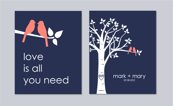 Wedding Gift Anniversary Gift Personalized Love Bird Wedding Family Tree Love Birds on Branch Love is All You Need - Set of 2 prints- 8x10s