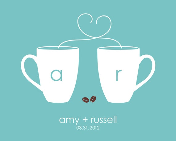 "Wedding Gift Kitchen Art Coffee Cup Heart/Love Initial Wedding Date Print  -  Paper first anniversary - Gift for her - Print 8""x10"""