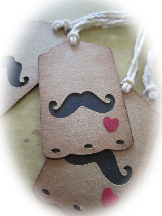 Mini Mustache Hang Tag Gift Tag with Heart Steampunk Wedding Set of 4
