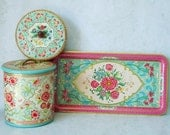 Holland Floral Kitchen Canister Set - Holland Embossed Tins -  Kitchen Storage Tin - Turquoise Kitchen Tins