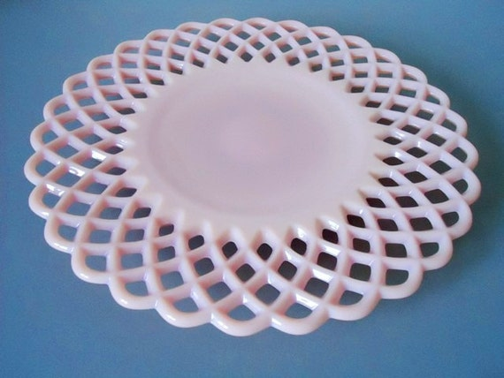 Pink Milk Glass Platter - Pink Milk Glass Plate - Lattice Lace Edge Pink Glass Plate