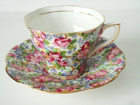 Tea Cups and Saucers - Vintage Chintz Teacup and Saucer - Floral Chintz Cup and Saucer