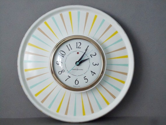 RESERVED Retro Metal Saucer Wall Clock - Atomic Space Age Clock - 1950s Working Wall Clock - GE Wall Clock