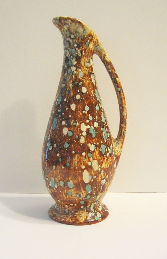 ART DECO Vintage Ceramic Pitcher Vase With Handle Cream - Red - Brown - Turquoise Glaze Lovely Home Decor  No. 11