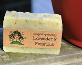 Vegan Lavender Patchouli Aloe cold process soap 4 oz by Woodyhill Apothecary