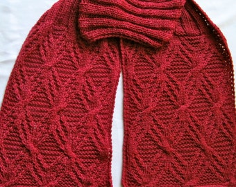 Knit Scarf Pattern:  Twisted Branches Turtleneck Scarf Knitting Pattern