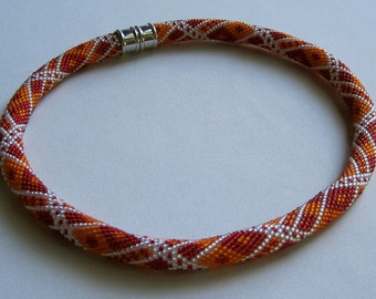 Bead Crochet Necklace Pattern:  Geometrics in Red and Orange Bead Crocheted Necklace Pattern