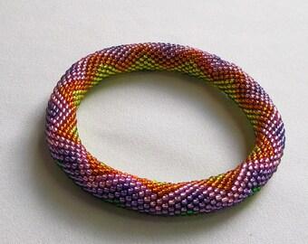 Bead Crochet Pattern:  Rainbow ZigZag Bead Crochet Bangle Pattern