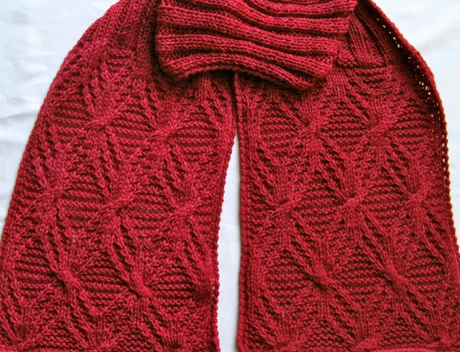 Knit Scarf Pattern: Twisted Branches Turtleneck Scarf