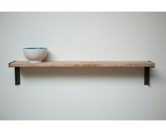 Minimal Wall mount Shelf, Reclaimed Old Growth Wood an Iron