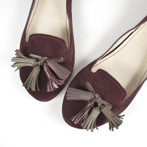 The Loafers Shoes in Burgundy Suede - Handmade Leather Shoes - Reserved for Anna