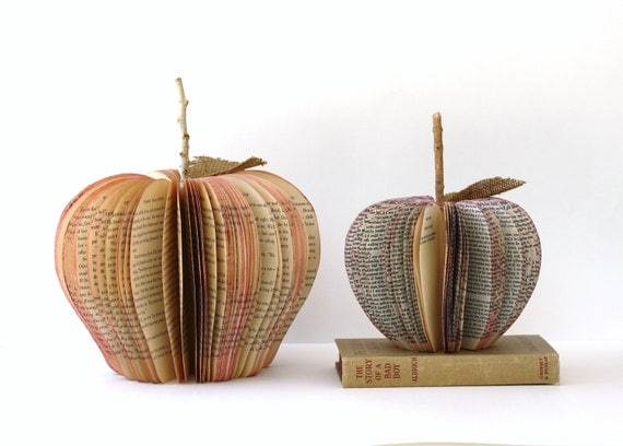 Set of 2 Vintage Book Apple's TEACHER GIFT size medium and large